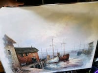 boats beside dock near house painting