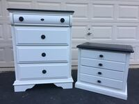 Solid Wood Tallboy Dresser With Nightstand White With Black Top  Manassas, 20112