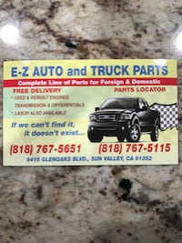 E-Z Auto and truck parts business card