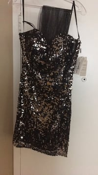 black and gray sequin sleeveless dress London