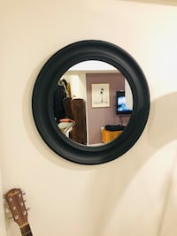 Circle Mirror (Dark Grey Wood Frame)