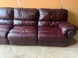 Purple Leather Dual Sleeper Sofa (DELIVERY INCLUDED)