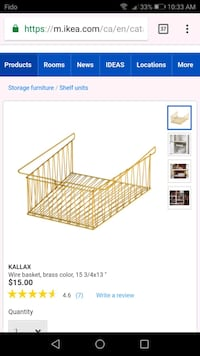 Wire basket,gold. For IKEA Kallax bookcase Gatineau, J9J 0J4