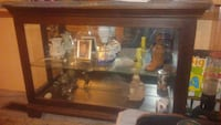 brown wooden glass display cabinet Wenatchee, 98801