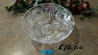 round clear cut crystal glass bowl