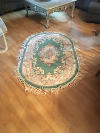 Round green and white floral area rug Freehold, 07728