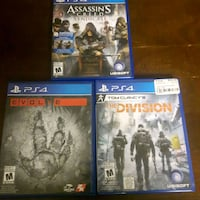 three assorted PS4 game cases Lake Cowichan, V0R 2G1