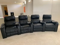 Set of 4 Lane 222 End Zone Black Leather Theater Chairs  LEESBURG