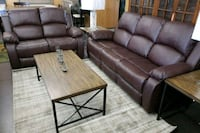 Brown leather reclining sofa and loveseat North Highlands, 95660
