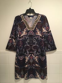 Paisley knit dress with beaded embellishment