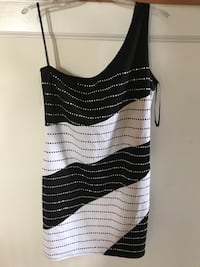 Black and white striped polka-dotted one-shoulder top 30 km