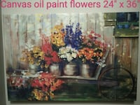 Oil paint canvas flowers picture frame Kitchener, N2N 3K8