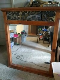 Large Wood and Wrought Iron Mirror Norman, 73072
