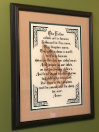 "Beautiful cross stitch of the Lord's Prayer professionally framed size 24""x19"" Edmonton, T5Z 3R3"