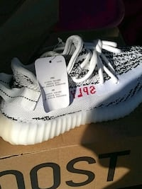 pair of white Adidas Yeezy Boost 350 V2 San Jose