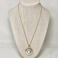 14k Gold Blister Pearl Diamond Pendant with 14k Diamond Cut Rope Chain
