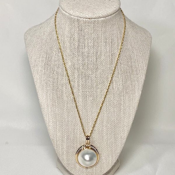 Genuine 14k Gold Blister Pearl Diamond Pendant with 14k Rope Chain 5c363aa0-b6dd-45d4-8b86-96c1cd09c1a7