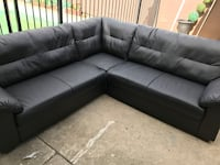 Ikea knislinge 4 seat corner sectional sofa couch black leather