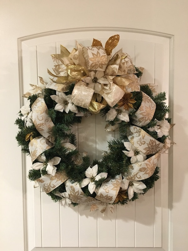 Gold Christmas Wreath.White Gold Christmas Wreath