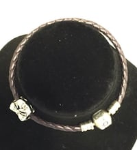 Authentic leather pandora bracelet with 925 heart charm (not pandora charm) 7 inches long /Firm price Calgary, T3E 6L9