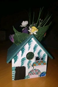 Hand painted decor bird house with flowers