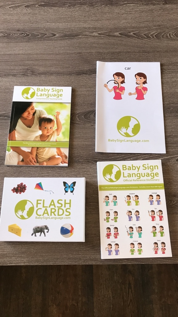 four Baby Sign Language and Flash Cards cards