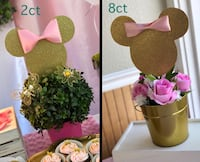 Pink & Gold Minnie Mouse's Head Shape Centerpiece ONLY! Total 10ct. Kissimmee, 34741