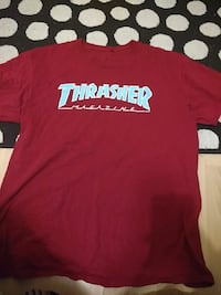 red and white Thrasher print crew-neck t-shirt