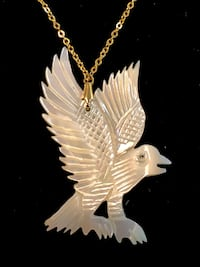 Mother of pearl detailed hand carved eagle on gold chain necklace Surrey, V4N 0L4