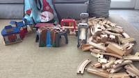 Assorted wooden train track toy lot