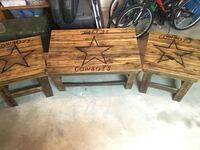 Dallas Cowboys coffee table and two end tables logo burned into wood.  Pottsboro, 75076