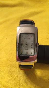 Silver plated link; square analog watch