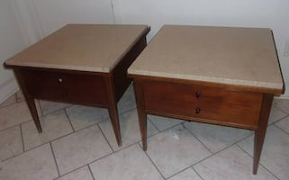 Wooden Marble Top End Tables (1960s-70s)