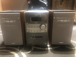 JVC CD and cassette player.  With two speakers.