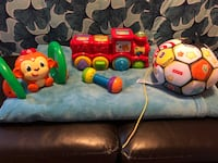 Bright Stars monkey that rolls around and lights up great for beginner walkers.. VTech roll and surprise animal train makes noise and music and different animal pops up wen buttons are pushed. Great for beginning motor skills. Fisher Price soccer ball tha South River, 08882