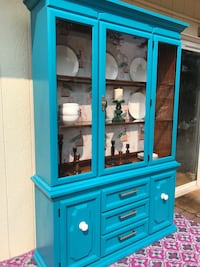 Blue wooden framed glass display cabinet Puyallup, 98374
