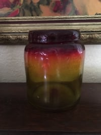 Gradient amber to red thick glass jar Ormond Beach