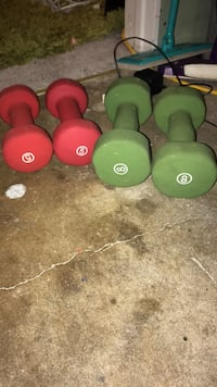 four green and red dumbbells Ridgewood, 07450