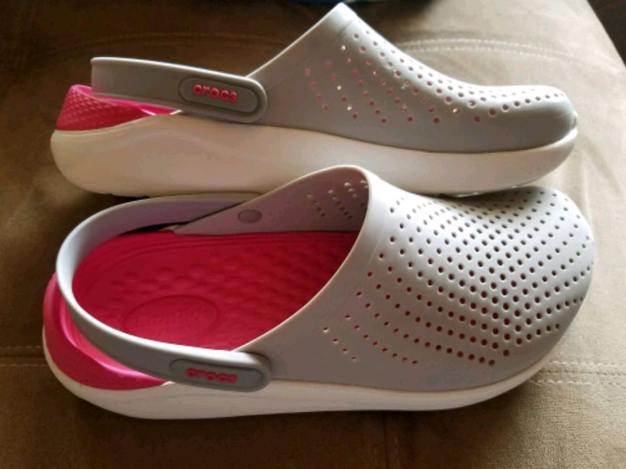 ee24d3c48 pair of white-and-pink Crocs clogs for sale Auburn More pictures. Letgo