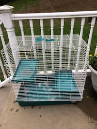 """White and blue pet cage 29 1/2 long  17"""" deep  30"""" tall  Shaler, 15116"""