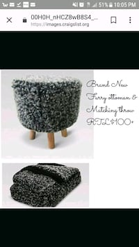 New matching set FAUX FUR OTTOMAN / STOOL BLANKET  York