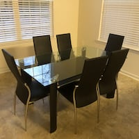 rectangular glass top table with four chairs dining set Culpeper, 22701