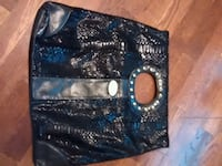 blue and black leather handbag Maple Ridge, V2X 3H8