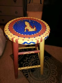 Hand painted Stool  Fox Lake, 60020