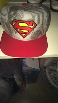 Red and gray superman fitted cap 103 mi