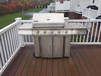 Silver metal outdoor gas grill