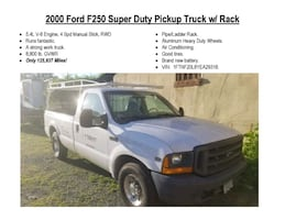 2000 Ford F250 Super Duty Pickup Truck w/ Rack