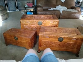 Asian nesting chest trunks coffee table storage