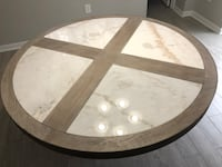 round brown wooden framed glass top coffee table 229 km