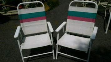 Vintage Heavy Folding Hi Back Patio Chairs